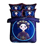 CSYPYLE Bettwäsche Set Heimtextilien Kreative Chinesischen Stil Comic-Figuren Muster Weiche Bequeme Bettbezug Bettlaken Bettwäsche Kit, 1,2 Mt
