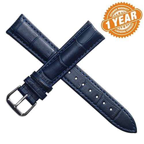 20mm blu scuro cinturini bande per gli uomini o orologi da polso delle donne imbottiti in vera pelle opaca