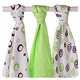 XKKO BMB070024A 3er Pack Bambuswindeln zum Wickeln, beim Stillen, als Unterlage oder leichte Decke, Windeln 70 x 70 cm, mehrfarbig