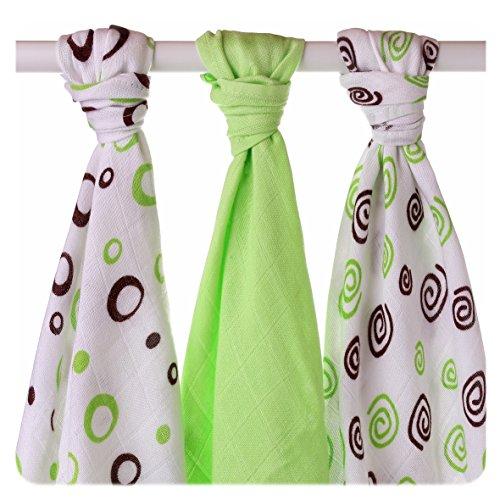 XKKO bmb07 0024 a Lot de 3 couches à langer Bambou, allaiter, comme tapis ou multicolore couverture légère, couches 70 x 70 cm