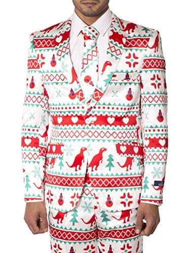 Hommes Maigre Fixer Fantaisie Noël Costume Coeur blanc