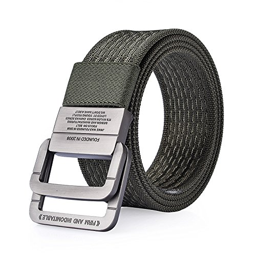 ZHAOXIANGXIANG Military Equipment Belt Tactical Strap Male Ring Double Buckle Belt Thicken Canvas Belts (115Cm) B