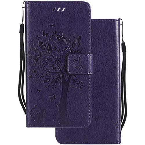 LEMORRY Handyhülle für Sony Xperia XA Ultra Hülle Tasche Geprägter Ledertasche Beutel Schutz Magnetisch Schließung SchutzHülle Weich Silikon Cover Schale für Sony XA Ultra, Glücklicher Baum Violett -