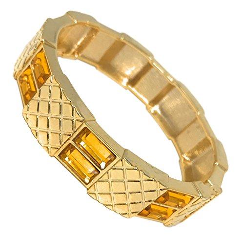 Damen Fashion Glam Glitz Baguetteschliff goldfarbenes Armreif Armband