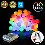 LED Globe String Lights Battery Operated,16.5ft 50 LEDs Globe Fairy Lights Battery Pack, 8 Modes Fairy String Lights for Home Bedroom Garden Festival Wedding Christmas Outdoor Indoor Decoration Use(Multi-color)