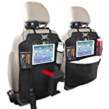 Car Back Seat Organiser, [2 Pack] Geeney Auto Organizer Diaper Storage Bag Tablet Holder Multi-Pocket Cargo Baby Kick Mats Protectors Travel Hanger with Tissue Box For iPad Car SUV Trunk Baby Stroller