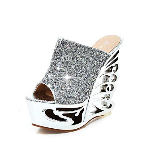 Estate Zeppe Sandali e ciabatte/Spessa piattaforma sandalo donna/paillettes tacco alto pantofole A