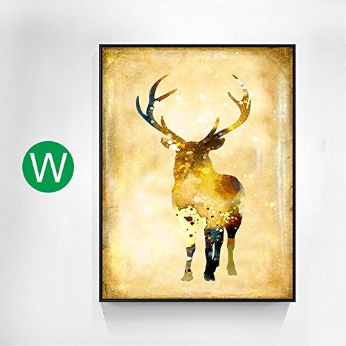 ZHFC-salon de peinture décorative, nordic simple salon sofa, mur à l'arrière - plan, triple pendaison paintings, deer peintures murales, entrée,w,70x90