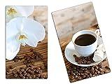 Herdabdeckplatte Schneidebrett Spritzschutz aus Glas, Multi-Talent HA63333630 Orchidee Kaffee Variante 2er Set (2 Panels)