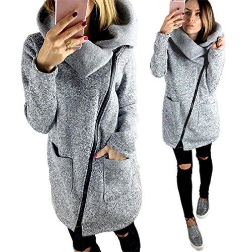 Zipper Sweatshirt Damen Btruely Frau Herbst Pullover Mode Langarm Jacket Plus Mantel (M, Grau)