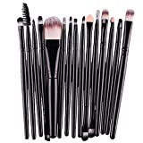FORH-Beauty FORH 15 pcs/Sets Make up Brush Damen Professional kosmetik tools weich Foundation Powder Brush Gemütlich Lippenbürste Wimperntusche Pinsel Eyeshadow Eyeliner Brush (Schwarz)