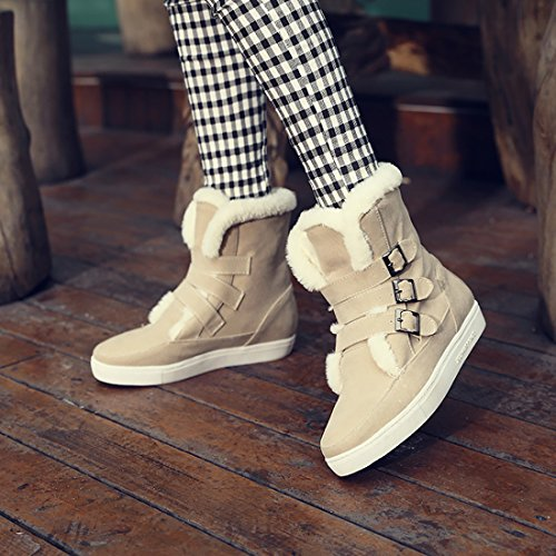 UH Femmes Chaussures Bottines de Neige avec Boucles Talons Plates Bout Rond avec Fourrure Chaud Beige