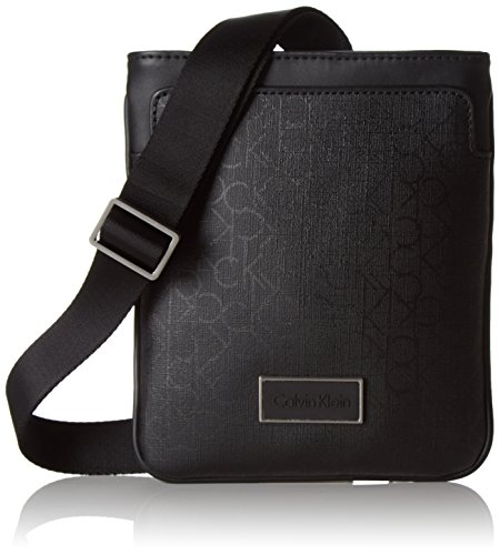 Calvin Klein Jeans Power CK Mini Flat, Borsa a Tracolla Uomo, Nero (Black 001 001), 21x18x3 cm (B x H x T)