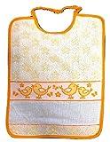 Panini Tessuti BAVAGLINO BAVETTA Happy Pulcini con elastico e tela aida per ricamo nome (arancione)