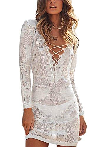 Minetom Fashion Damen Langarm Bademode Reizvoll Tief V-Ausschnitt Aushöhlen Häkelarbeit Bikini Cover Up Sommer StrandKleid Weiß One Color