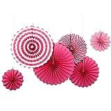 SUNBEAUTY 6er Set Papier Fächer Fuchsia Papierrosetten Dekoration für Party Feier Hochzeit Geburtstag 21cm 31cm 42cm (Pink)