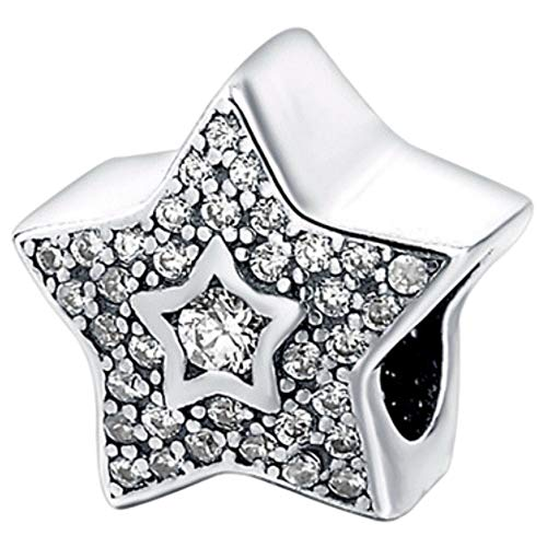 Truly Desired Jewellery Charm-Anhänger Stern Sterling-Silber 925 Zirkonia Passend für Pandora-, Chamilia- und Trollbead-Armbänder. Schönes Geschenk mit kostenloser Geschenkbox (Stern Charm Für Pandora Armband)