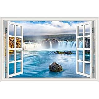 ASENART Blue Sea Waterfall 3D Wall Sticker Home Decor Wall Decals Vinyl Wallpaper 24