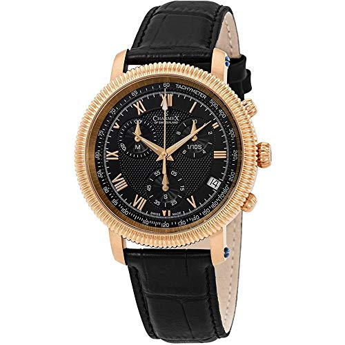 Charmex Men's President II 42mm Black Leather Band Quartz Analog Watch 2986