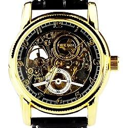 Orkina Mens Transparent Tourbillon Mechanical Dial Quartz Black Leather Strap Wrist Watch MG016BB