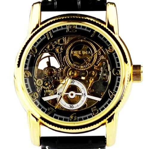 ORKINA mg016-black/Black–Armbanduhr Herren, Lederband schwarz