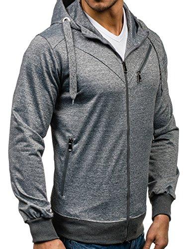 BOLF – Sweatshirt – Cappuccio – Con cerniera – Felpa – Maniche lunghe – Hoodie – Zip – Uomo [1A1] Grigio