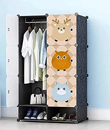 Portable Closet Wardrobe By House Of Quirk For Kids Bedroom Storage Organizer With 6 Cube 2 Shoes Cabinet 1 Hanger