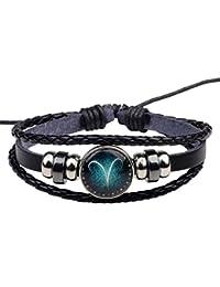 MJARTORIA Damen Herren Sternzeichen Armband Lederarmband Armreif Geflochten Seil Armkette mit Perlen