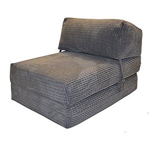 51mxMPSXPCL. SS300  - Gilda | Futon Z Single Chair Bed (Jazz Cushion) - Deluxe Da Vinci Cord Fold Out Chair With Bounce Back Fibre Blocks Premium Block Work Range (Soft & Snugly)(Charcoal)
