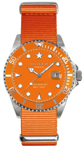 Oxygen - EX-D-SEA-40-OR - Montre Mixte - Quartz - Analogique - Aiguilles luminescentes - Bracelet Nylon Orange