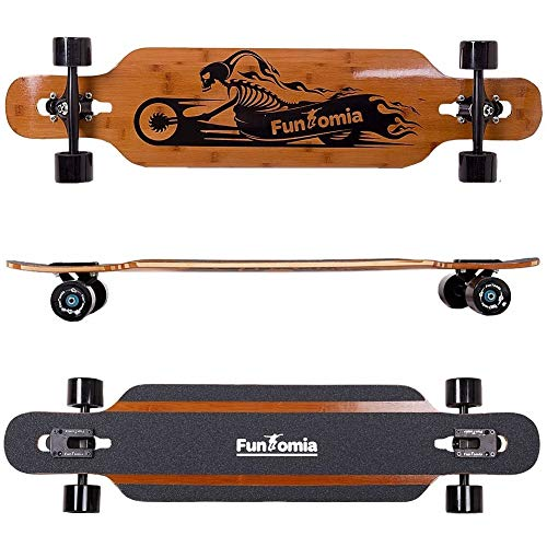 FunTomia Longboard Skateboard Drop Through Cruiser Komplettboard mit Mach1 High Speed Kugellager T-Tool mit und ohne LED Rollen (Modell Twin Tip aus Bambus - Farbe Ghost Rider - Flex 1) -