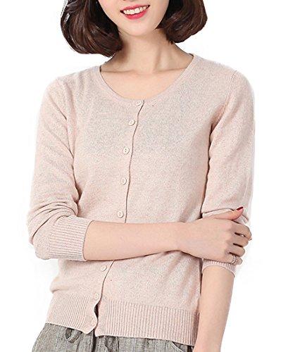 Panreddy Women's Wool Cashmere Classic Cardigan Sweater S Camel