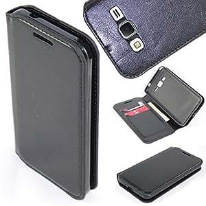 Samsung Go Prime Case, SOGA® [Pocketbook Series] PU Leather Folio Flip Wallet Case for Samsung Galaxy Go Prime Prepaid Smartphone (AT&T) - Luxury Black