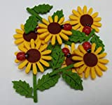 Blumen aus Filz Sonnenblumen aus Filz mit Marienkäfer in 6er Pack Dekoration aus Filz mit Glückskäfer Filzblumen Streudeko Streuteile als Glücksbringer Tischdeko