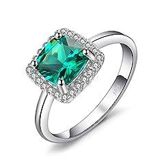 Idea Regalo - JewelryPalace Gioiello Cuscino 2.3ct Quadrata Artificiale Nano Russo Verde Smeraldo Halo Anello di Fidanzamento Argento Sterling 925