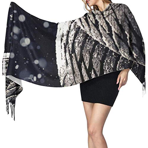 Kuaishow Damen Wrap Schal Regen Autoreifen Wassertropfen Schals Kaschmir Für Frauen Körper Schal Wrap Stilvolle Große Warme Decke
