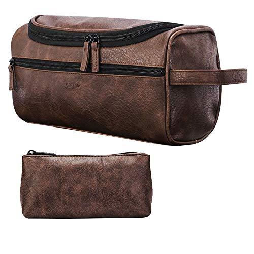 GuLouFanA Toilettenbeutel Unisex PU Leder Wasserproof Travel Cosmetic Bag Organizer Perfekt für Shaving Grooming Kit & Household Business Vacation mit Portable Handle -