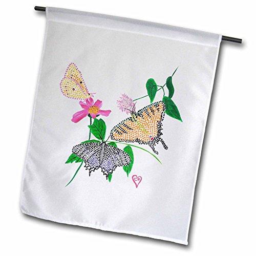 3dRose FL _ 13567_ 1tres mariposas puntillismo Bandera de jardín, 12por 45,7cm