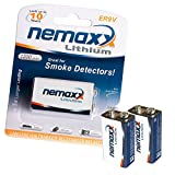 2x Nemaxx Lithium 9V Block Batterie Set für Rauchmelder 10 Jahre Lebensdauer