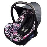BAMBINIWELT Ersatzbezug für Maxi-Cosi CabrioFix 6-tlg, Bezug für Babyschale, Komplett-Set DUNKELGRAU + PINKE BUNTE TIERE *NEU*