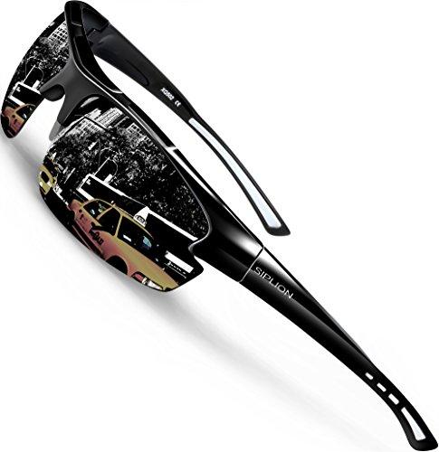 SIPLION Homme Sport Lunettes De Soleil Polarisé Protection UV400 Super léger Cadre 502 BLACK PFzRn