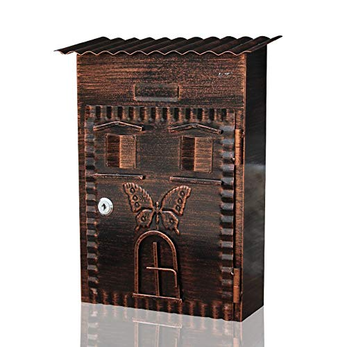 Jia he cassetta postale cassetta delle lettere - lamiera zincata, cassetta per lettere a forma di lettera d'epoca antica in ferro battuto, parete in ferro battuto, adatta per ville, cortili, casa - 34