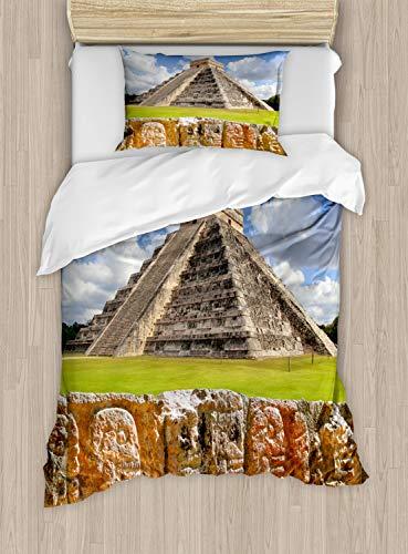 ABAKUHAUS altertümlich Bettbezug Set Einzelbett, Wand der Schädel-Pyramide, Kuscheligform Top Qualität 2 Teiligen Bettbezug mit 1 Kissenbezüge, Anthrazit grau und Lindgrün -