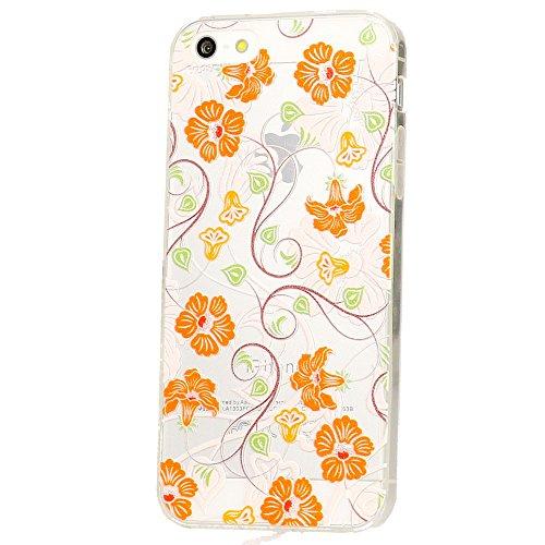 iPhone SE 5 5S Hülle Handyhülle von NICA, Slim Silikon Motiv Case Schutzhülle Dünn Durchsichtig, Etui Handy-Tasche Back-Cover Transparent Bumper für Apple iPhone 5 5S SE - Colorful Flowers Orange Flowers