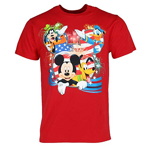 Disney Mickey Mouse Pluto Goofy Donald Duck American Flag Tee Shirt