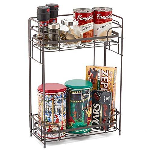 EZOWare 2 Spice Levels, Organizer Shelf for Spices, Kitchen, Bathroom, Shelves, Countertop - Rustic Brown