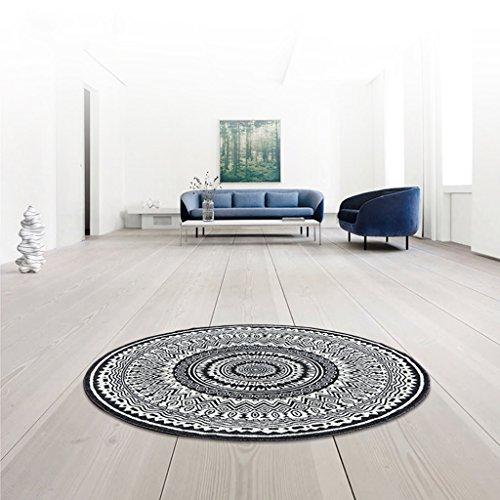 Tapis rond noir et blanc salon table basse canapé tapis chevet lit couverture (160 * 160cm) (taille : ROUND-160cm)