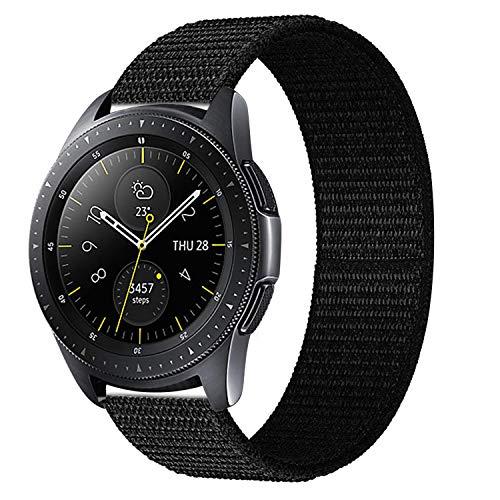 iBazal 20mm Armband Nylon Gewebte Klettband Uhrenarmband Ersatz für Galaxy Watch 42mm/Active/Gear S2 Classic/Sport/Huawei Watch 2/Ticwatch 2/E/Vivoactive 3/Vivomove HR Herren Uhrarmband - Schwarz Nylon-armband