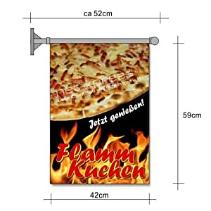 flammkuchen fahne a2 flagge gastronomie snack bistro werbung plakat k che haushalt. Black Bedroom Furniture Sets. Home Design Ideas