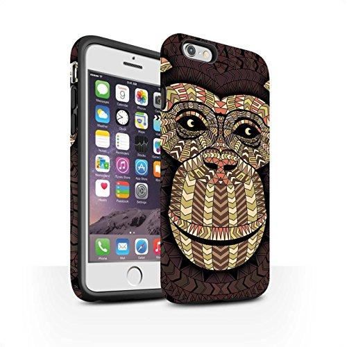 STUFF4 Matte Harten Stoßfest Hülle / Case für Apple iPhone 5/5S / Elefant-Grün Muster / Aztec Tier Muster Kollektion Affe-Sepia
